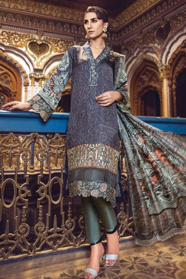 Alkaram Blue Embroidered Silk For Eid