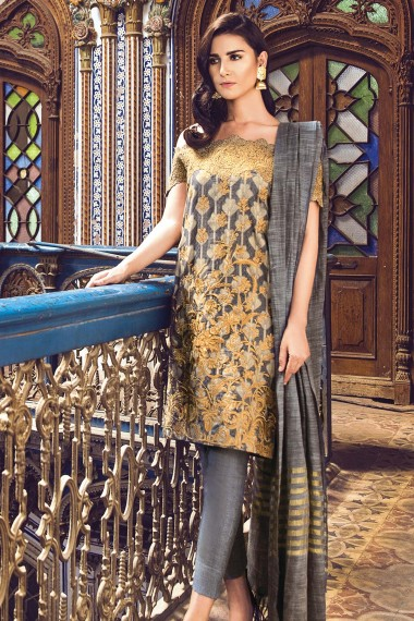 Alkaram Grey Embroidered Jacquard For Eid