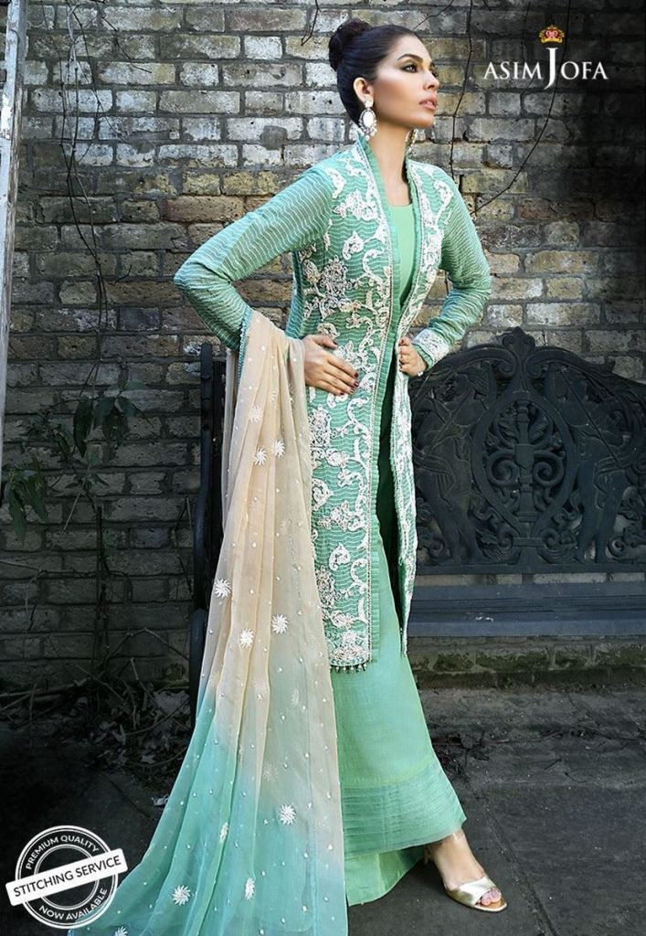 Asim Jofa Green Embroidereed For Eid
