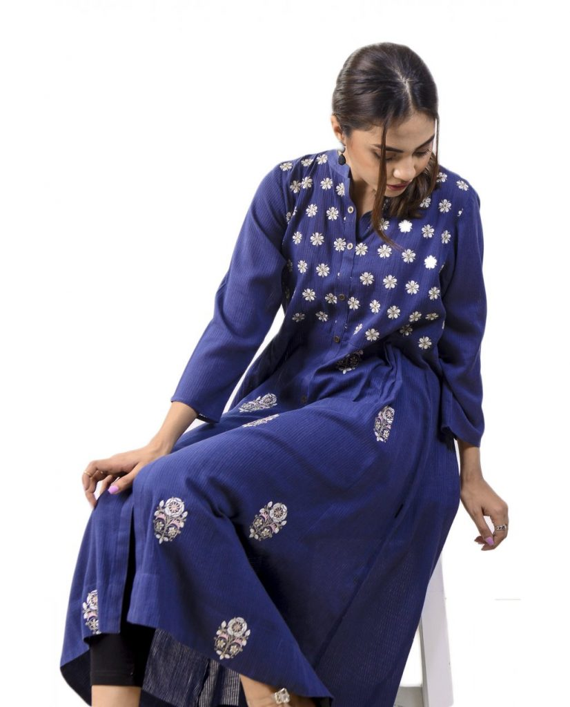 Navy Flayered Embroidered Shirt by Ego for Eid