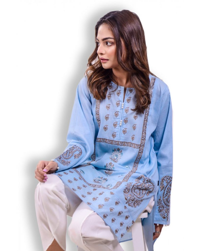 Ego Sky Blue Embroidered Shirt