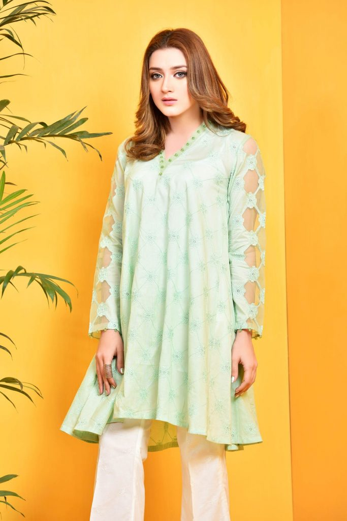 Kayseria Blue Embroidered Cotton Shirt For Eid
