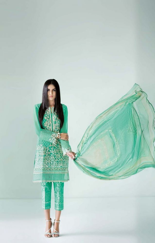 Gul Ahmed green Embroidered Eid Collection