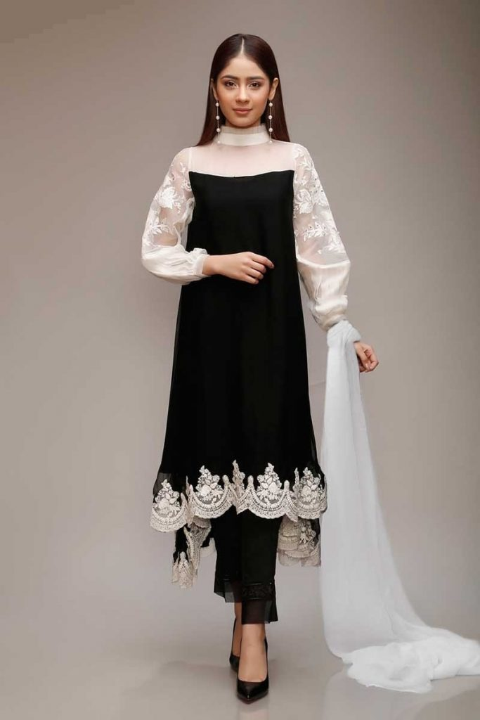 Maria B Black Sticthed Suit For Eid