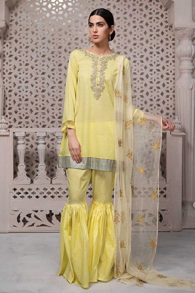 Maria B Yellow Shirt with Ghaghra For Eid
