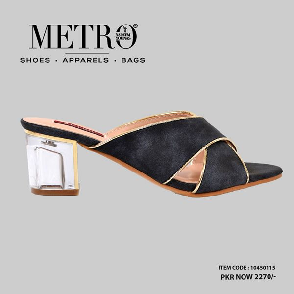 Metro Black Block Heels For Eid