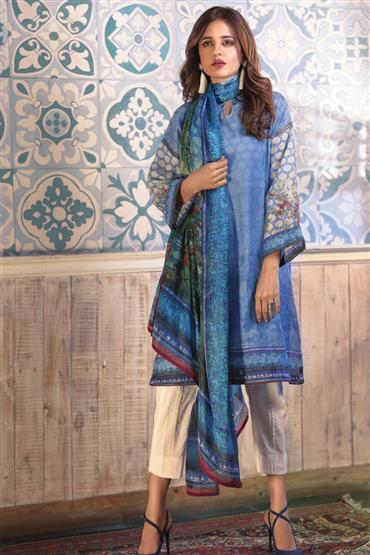 Satrangi Middy Blue Eid Collection