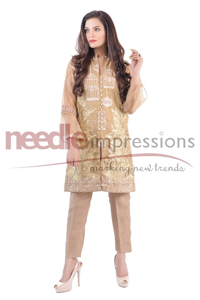 Needle impressions beige organza ready to wear
