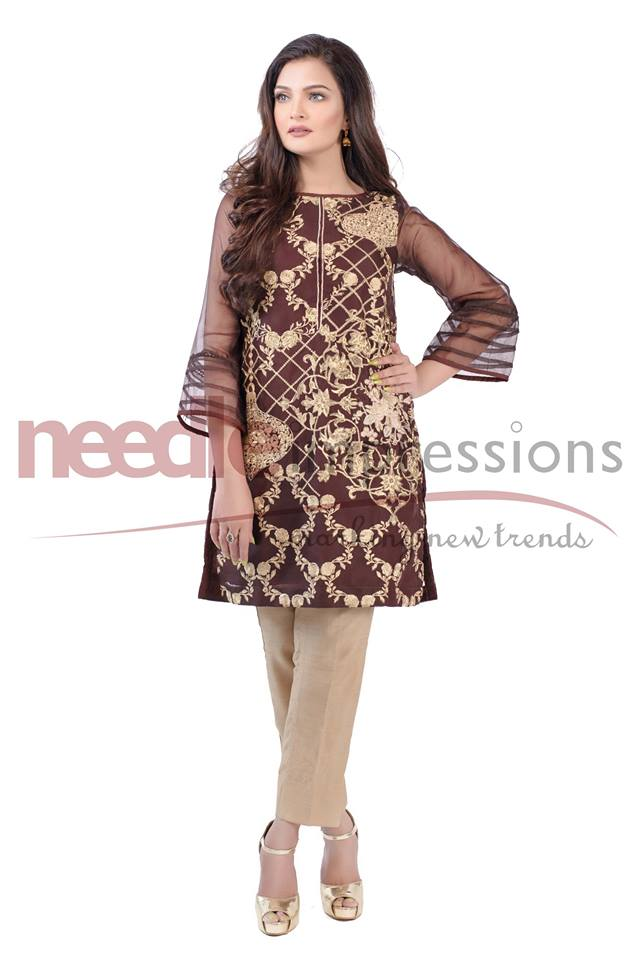 Needle impressions brown organza ready to wear