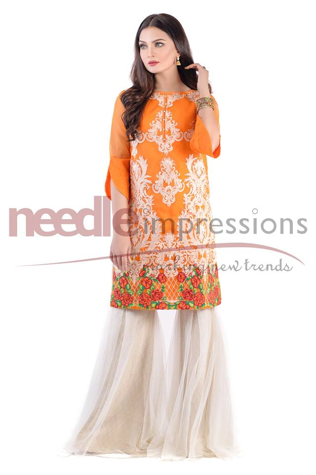 Needle impressions orange organza ready to wear