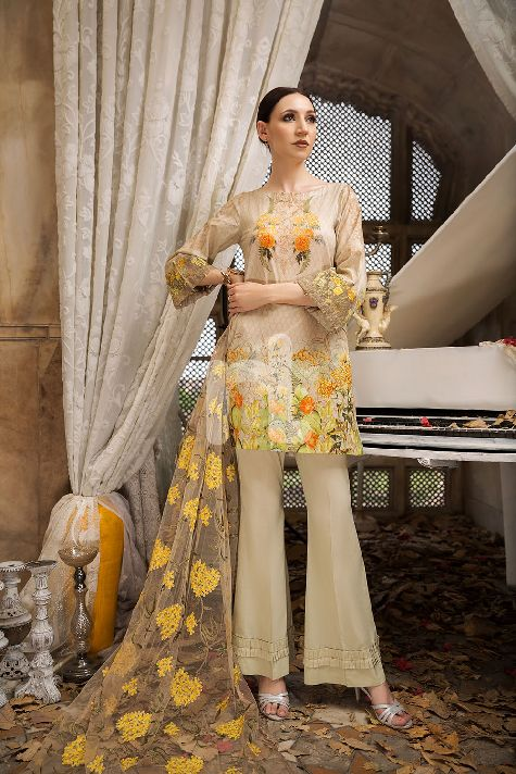 Nishat Net Off White Embroidered For Eid