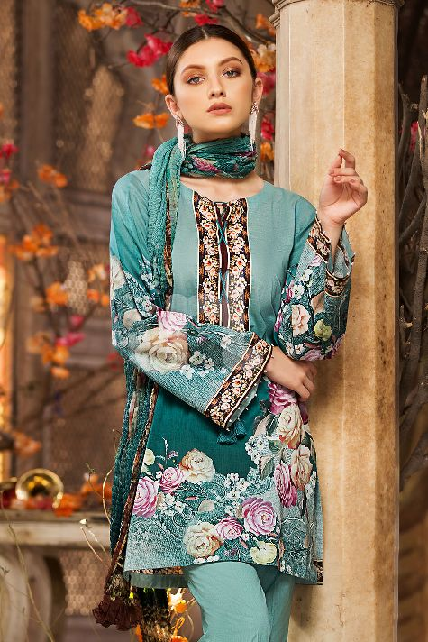 Nishat Organza Silk Green Digital Print For Eid