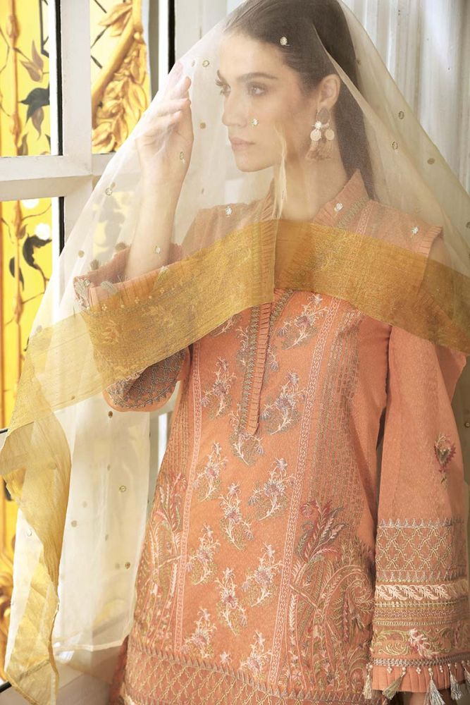 Gul Ahmed peach Embroidered Eid Collection