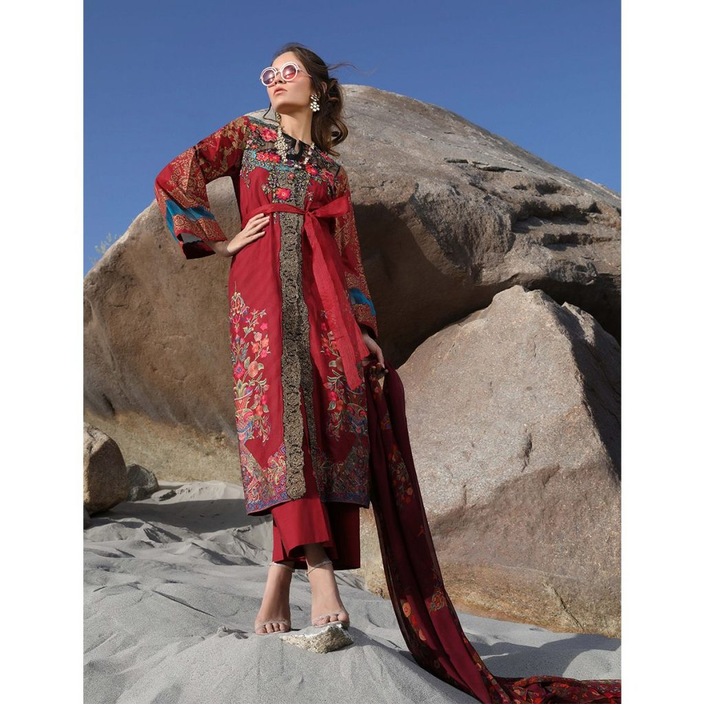 Sana safinaz Red Embroidered 3pc for Eid
