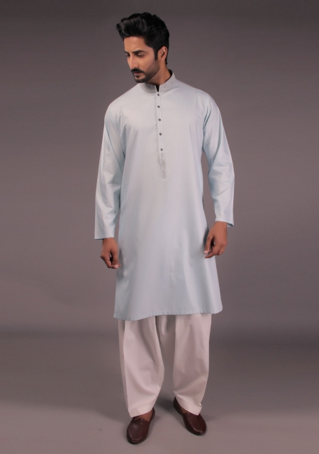 Amir Adnan Light Blue Cotton Kurta For Eid