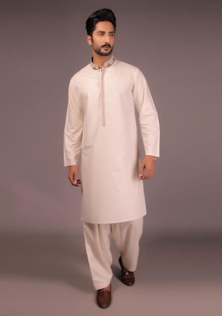 Amir Adnan White Cotton Silk Shalwar Suit For Eid