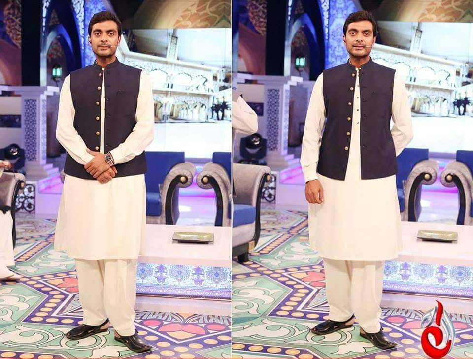 Amir Adnan White Suit with Black Waist Coat For Eid