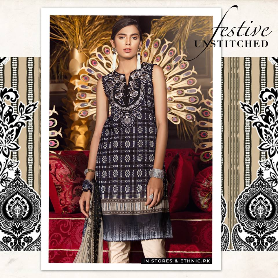 Ethnic Black Unstitched Festive Collection