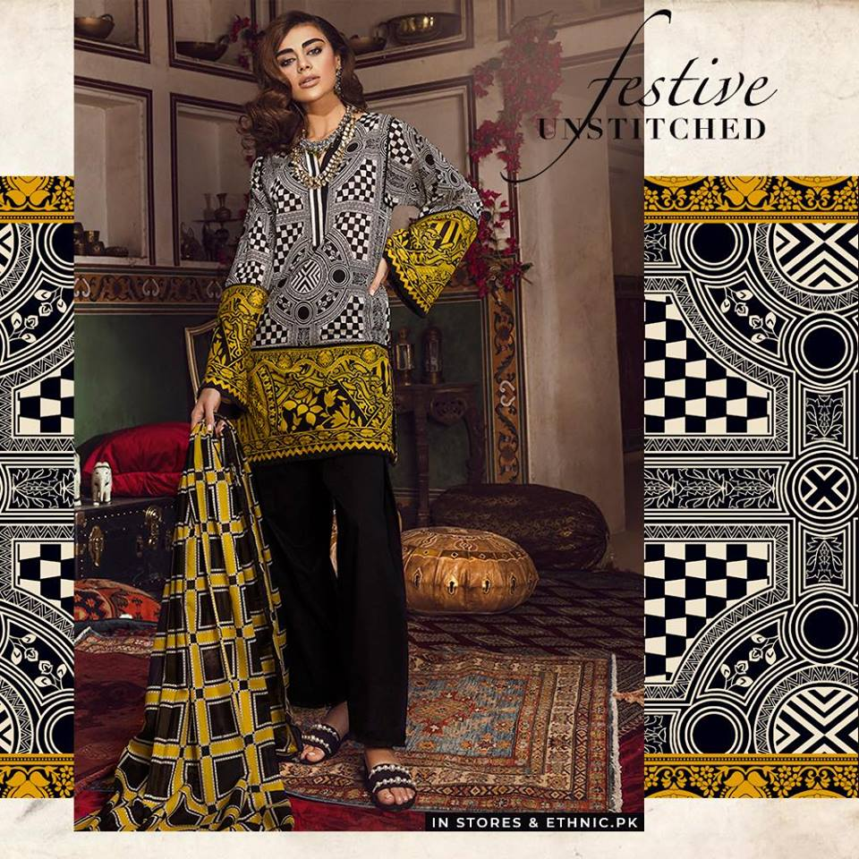 Ethnic Intense black Unstitched Festive Collection