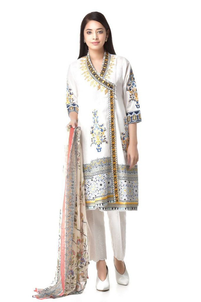 Ethnic white angrakha 2pc Botique Suit