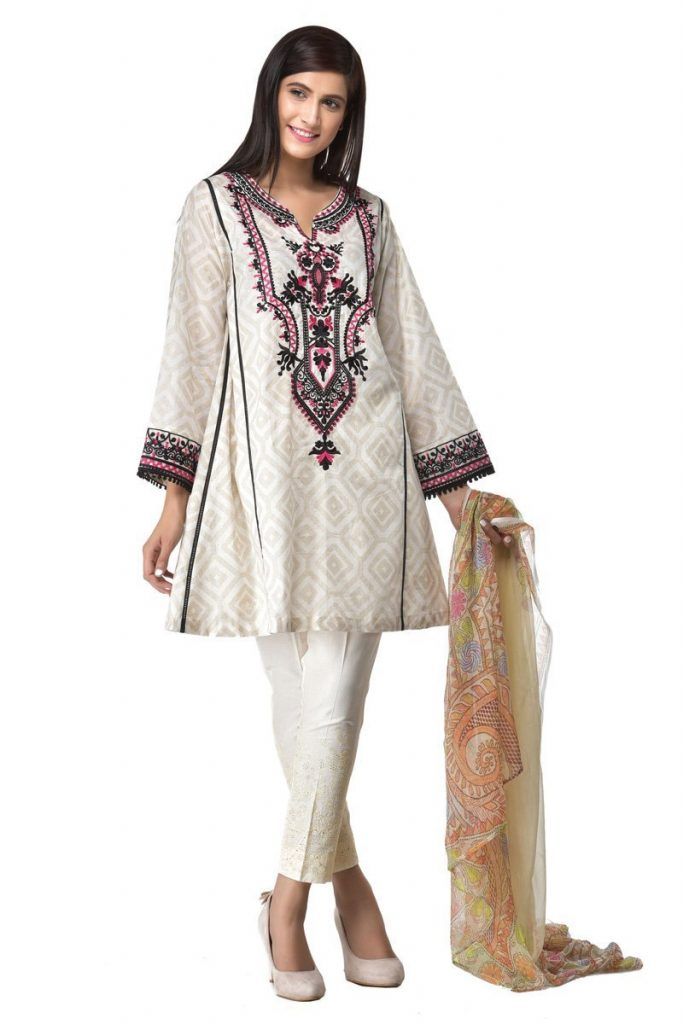 Ethnic white lawn 2pc Botique Suit