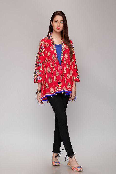 Rang Ja Red Boota Sleeves Red For Eid