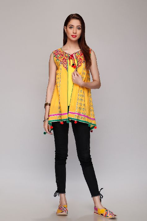 Rang Ja Yellow Spiral Shrug For Eid