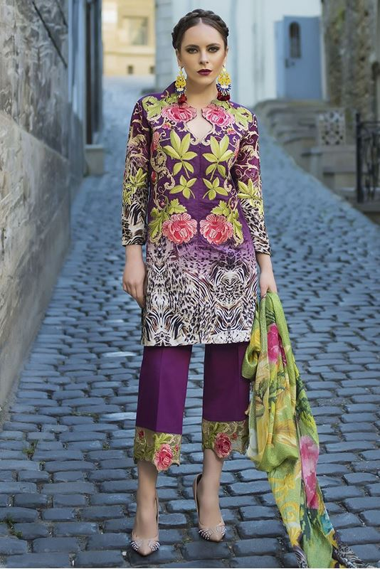 TM Embroidered Purple Eid Outfit