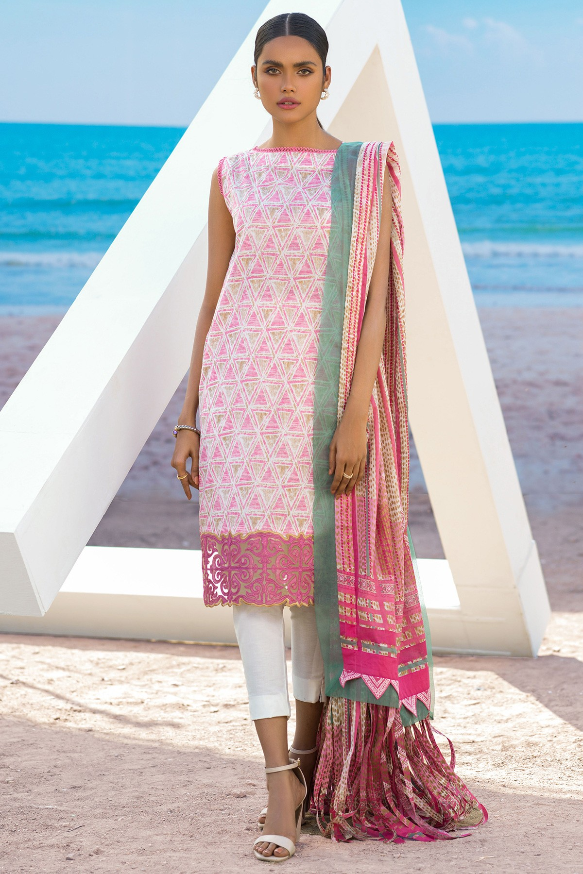 3 PC embroidered pink suit