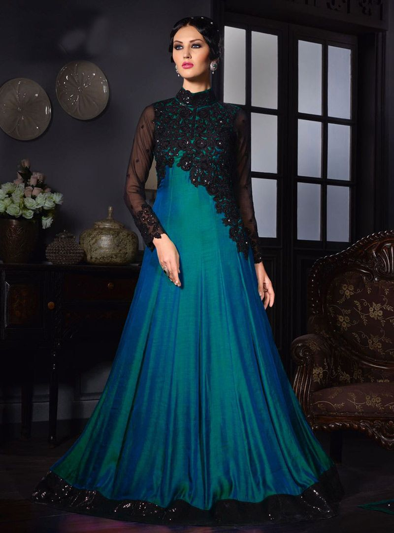 Blue party wear gowns