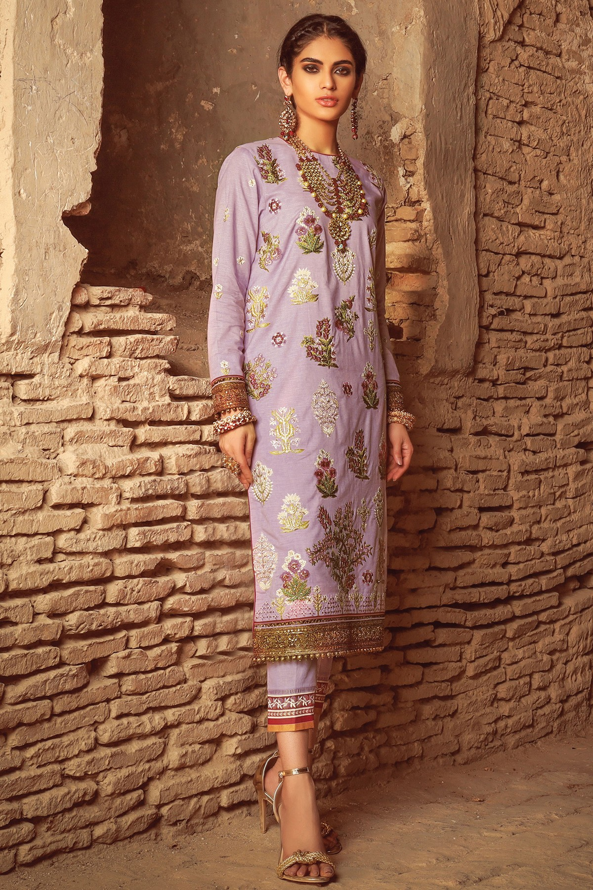 Lilac 2 PC printed suit