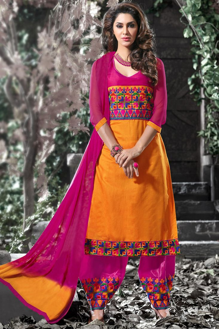 Pink and Orange Indian Party Dress