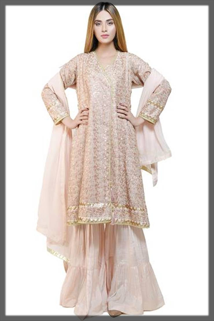 angrakha style decent suit by needle impressions winter partywear dresses collection