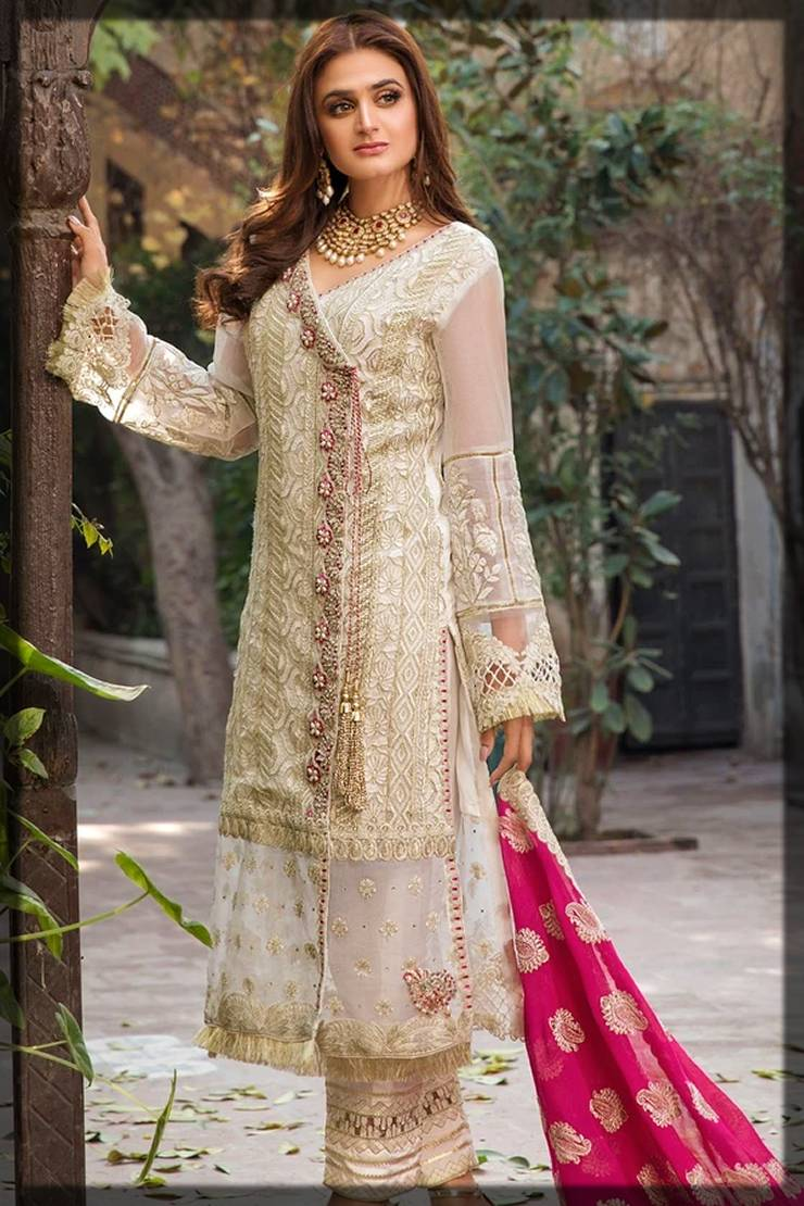 angrakha style dress with red dupatta - motifz winter partywear dresses