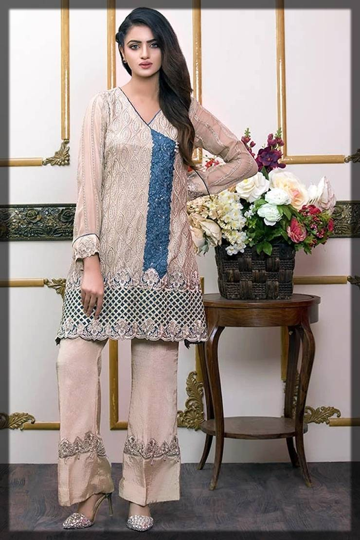 angrakha style shirt with blue embroidery