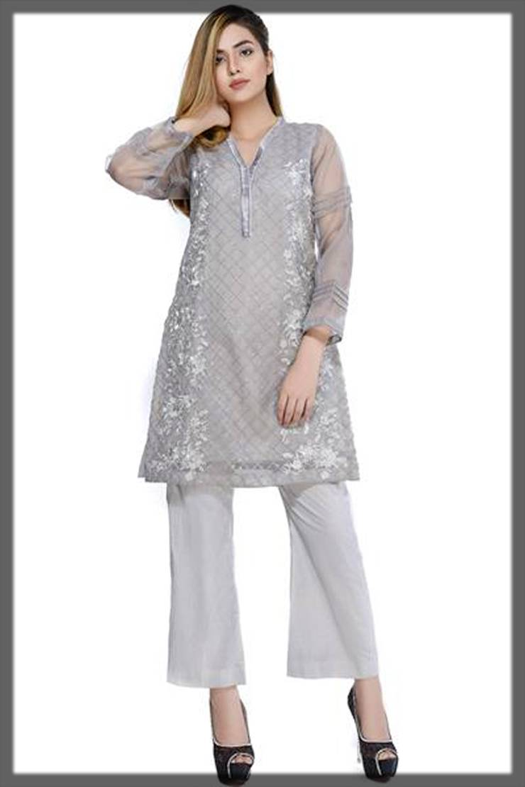 beautiful dres in grey - needle impressions winter partywear dresses