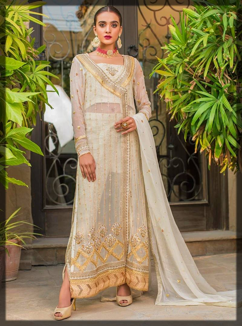 beautiful long shirt dress by zainab chottani formal collection