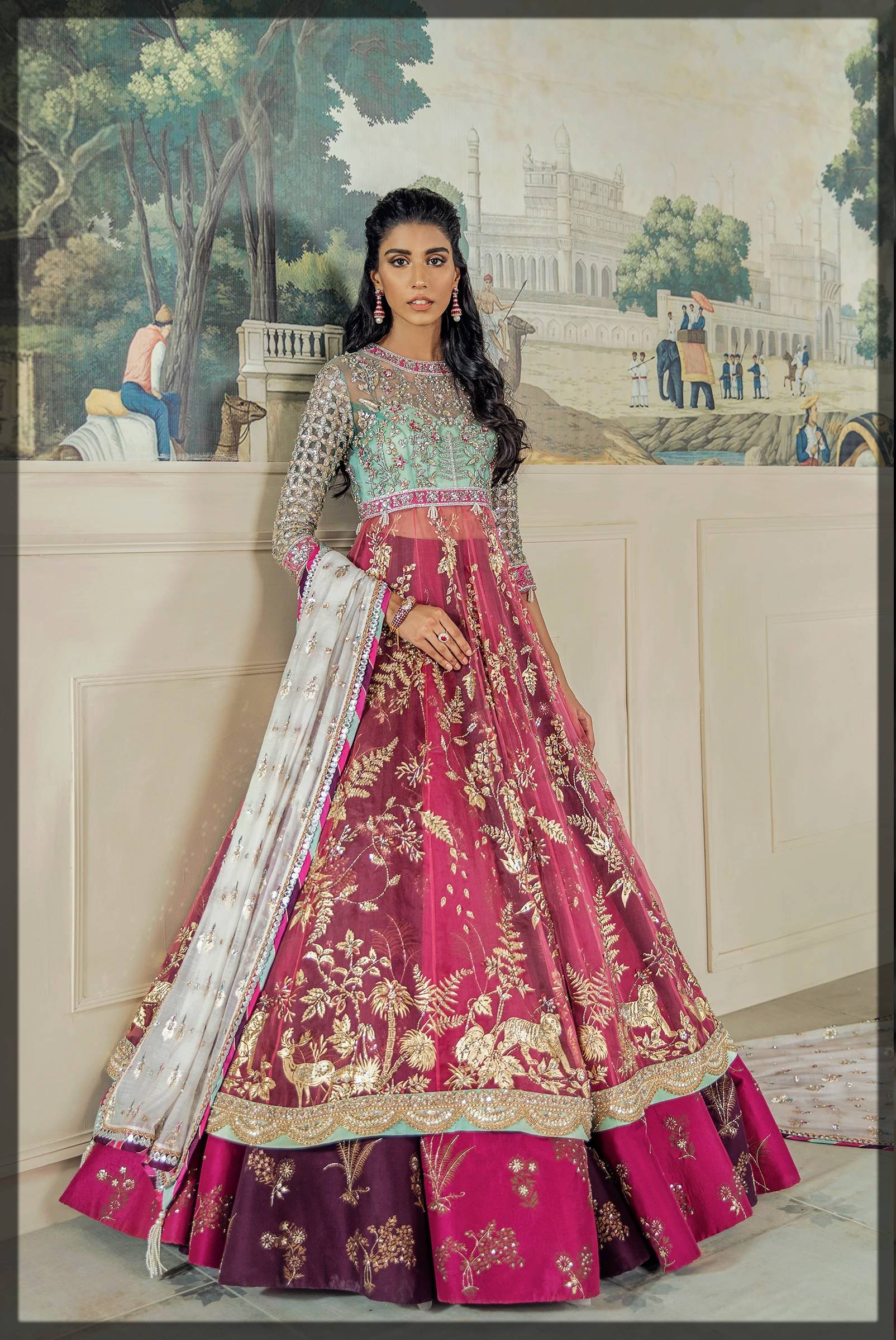big flared dark shaded lehenga with net frock for mehendi bride