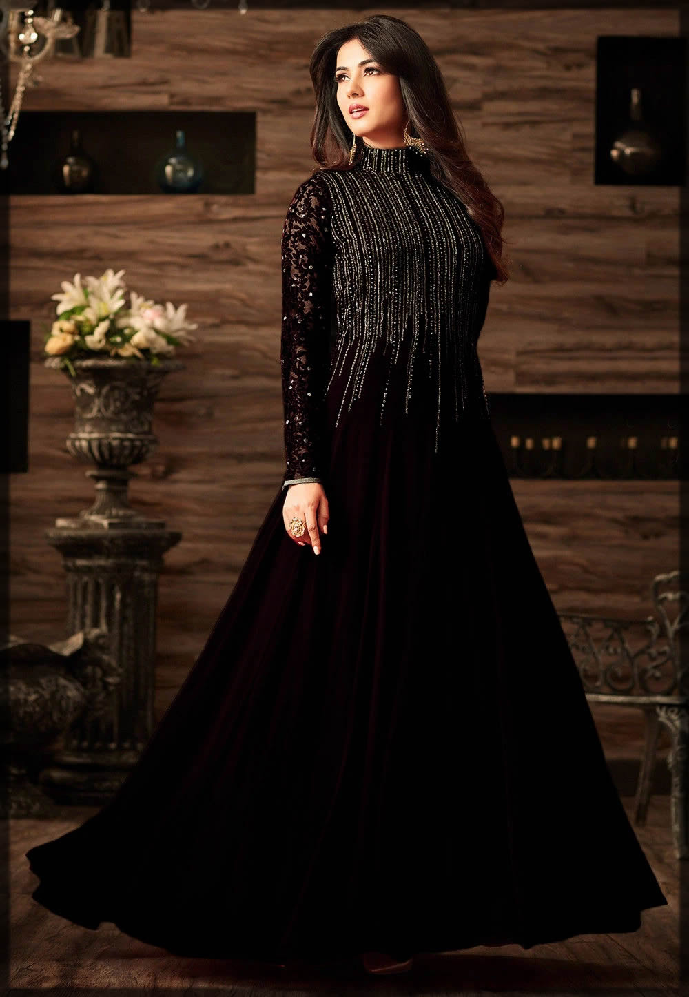 black party wear gown