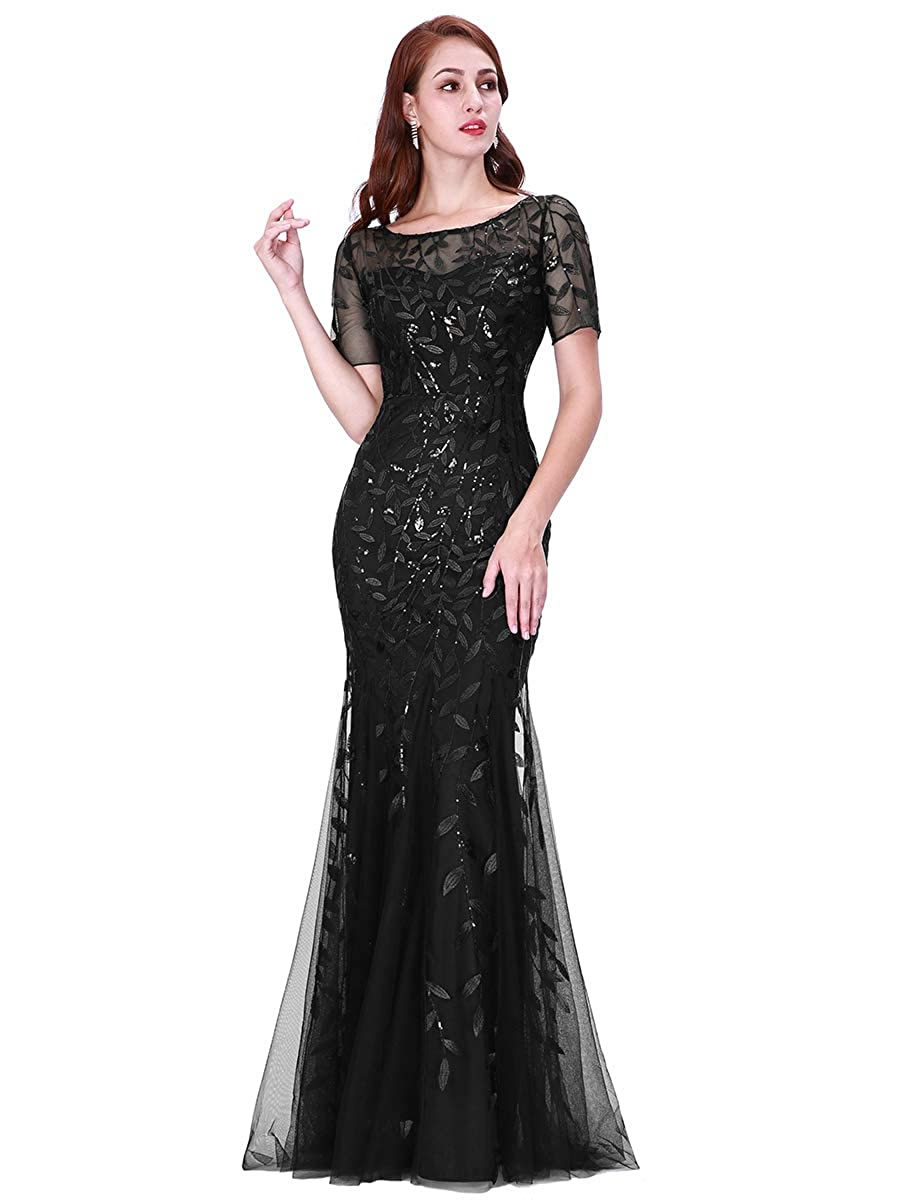 body fitted black net maxi