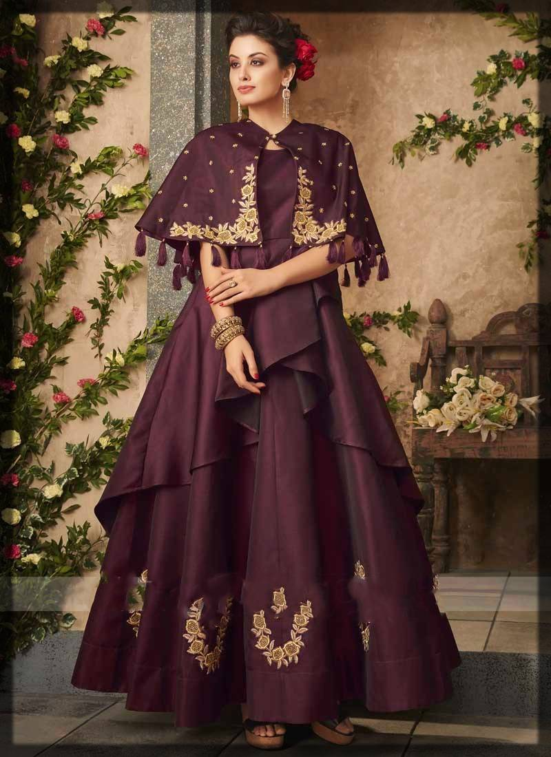 cape style maxi dress and anarkali frock for parties