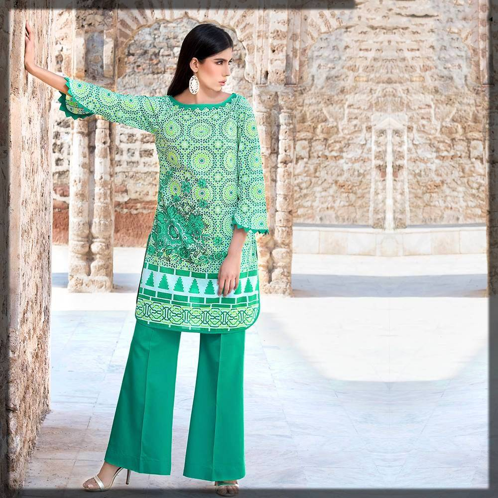 casual wear pakistani dress with bell bottom trouser