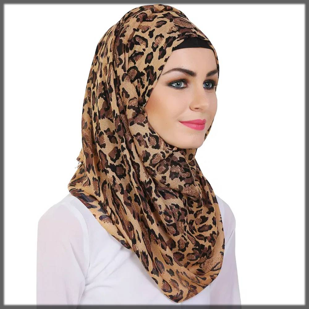 cheetah printed latest winter style hijab for trendy girls