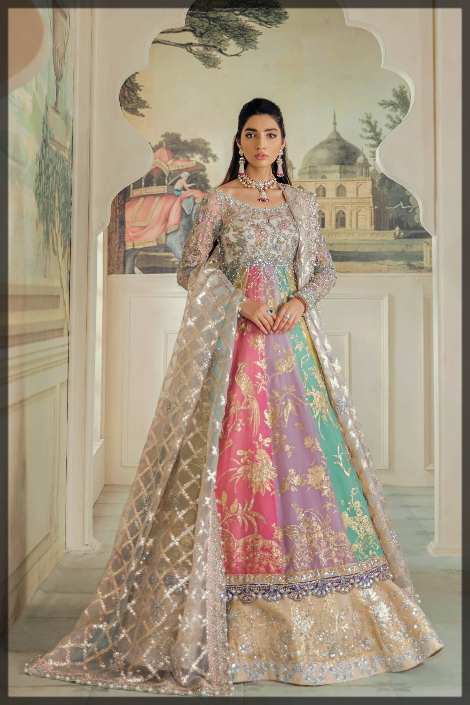 colorful light shaded elan bridal mehendi dress