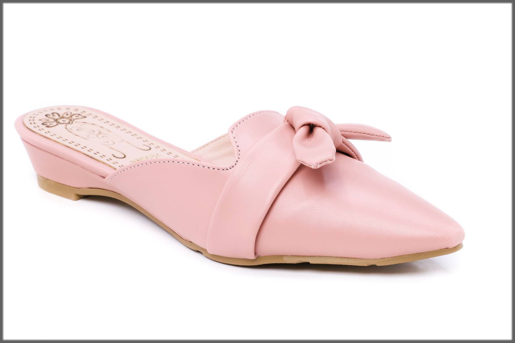 flat back open shoes in pink