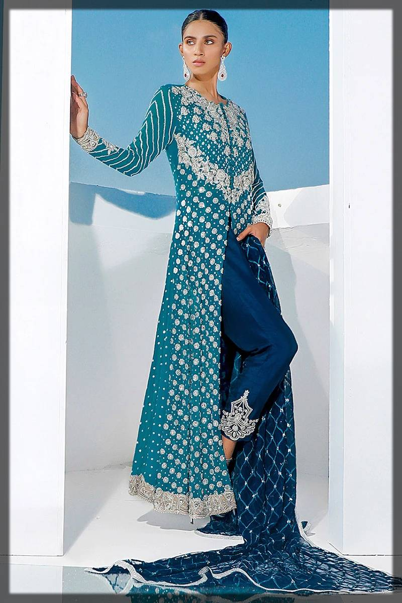 front open heavy formal dress by zainab chottani
