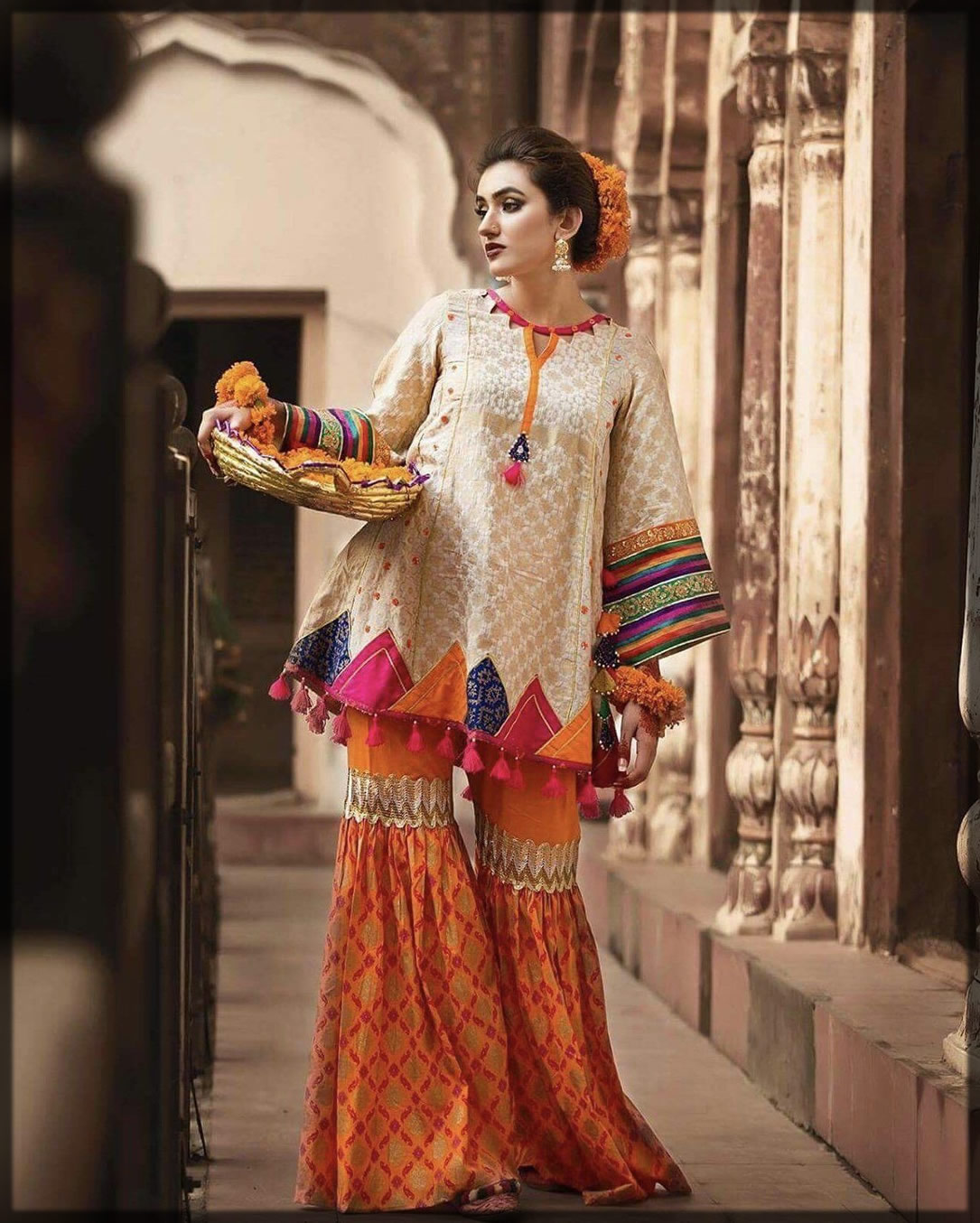 gharara stitching design