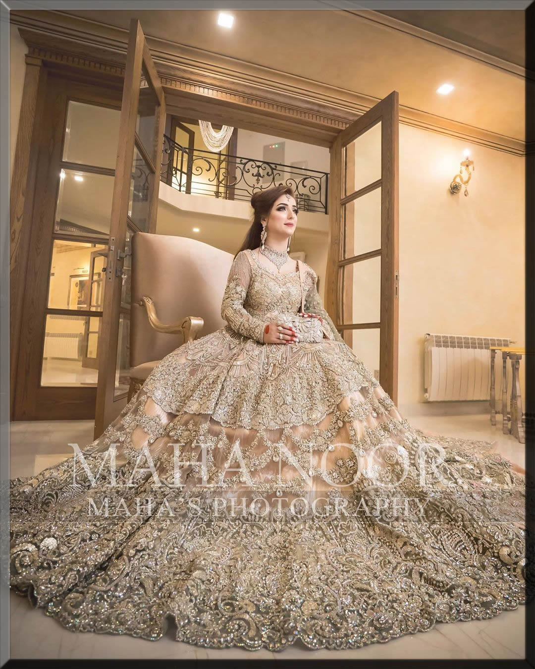 golden walima day dress