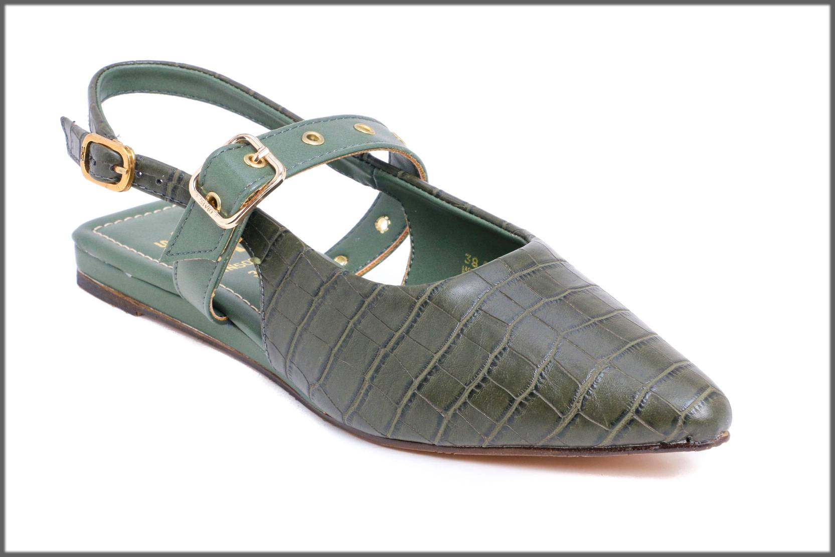 green back open flat shoes for winter