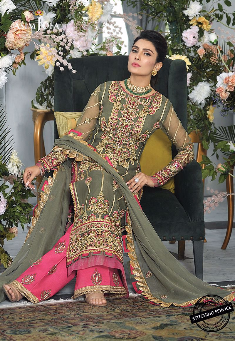 grey and pink embroidered suit